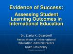 evidence of success assessing student learning outcomes in international education