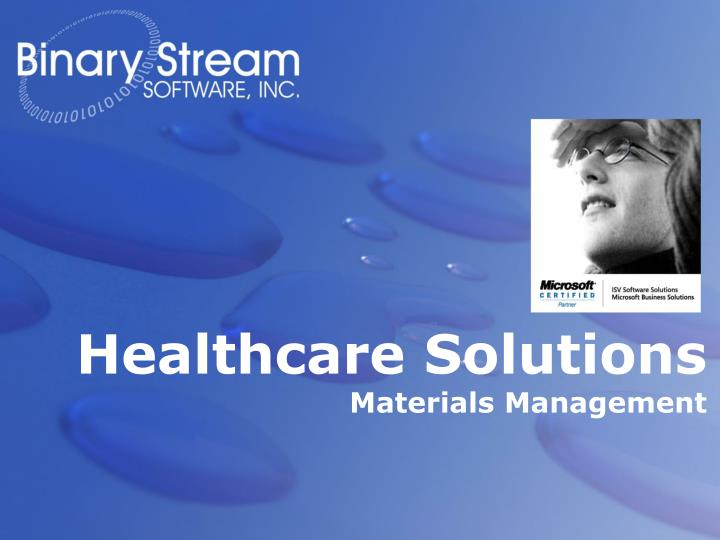 healthcare solutions materials management n.