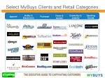 select mybuys clients and retail categories