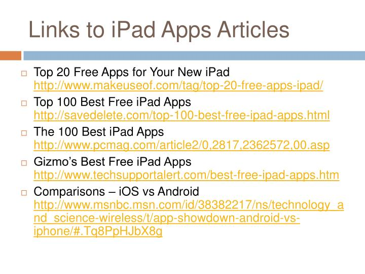 Links to iPad Apps Articles