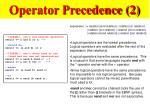 operator precedence 2
