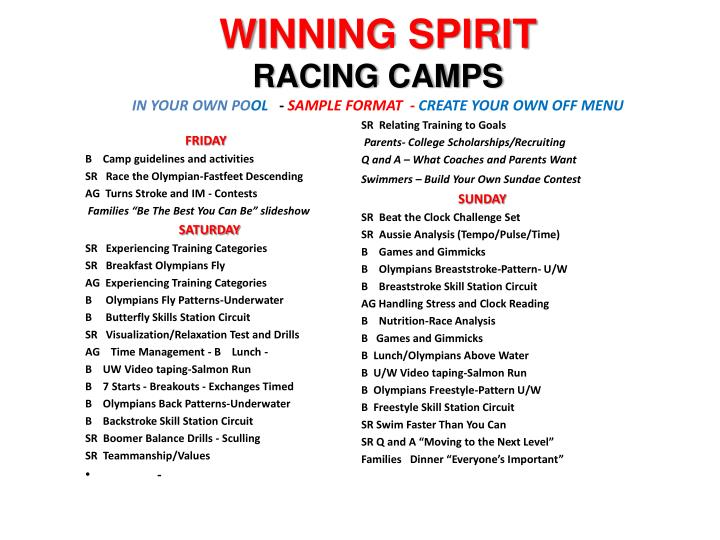 winning spirit racing camps in your own po ol sample format create your own off menu