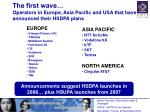 the first wave operators in europe asia pacific and usa that have announced their hsdpa plans