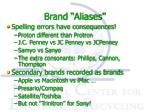 brand aliases