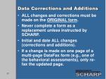 data corrections and additions