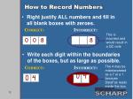 how to record numbers