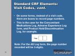 standard crf elements visit codes cont2