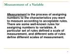 measurement of a variable