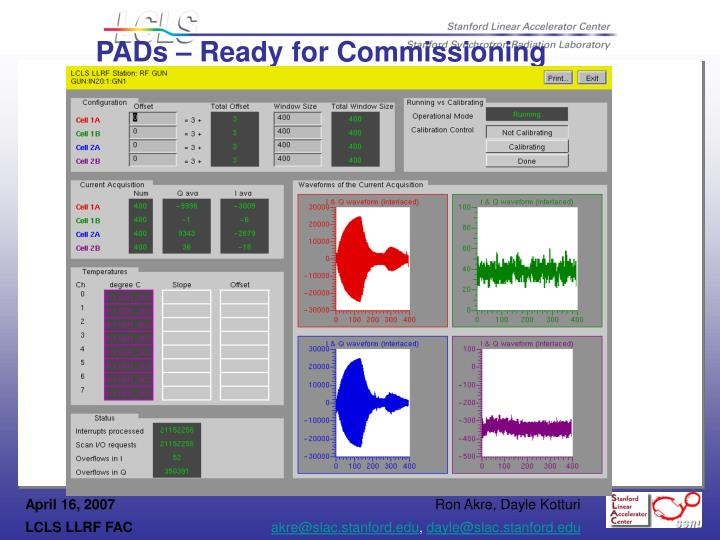 PADs – Ready for Commissioning