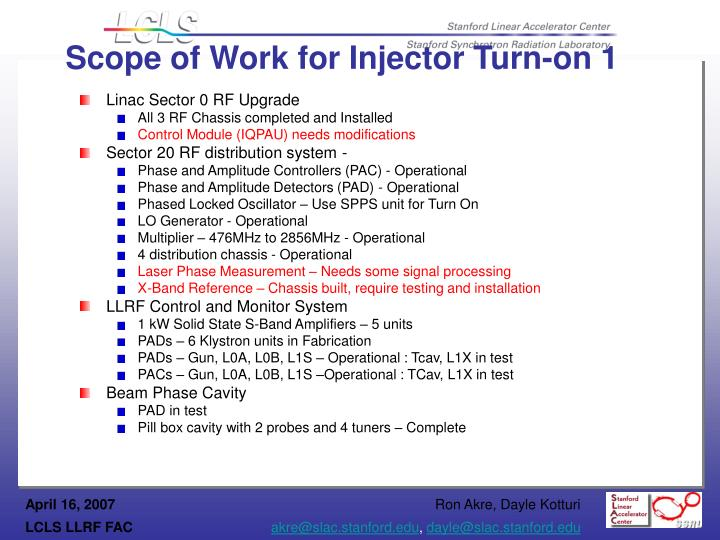 Scope of Work for Injector Turn-on 1