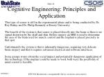cognitive engineering principles and application