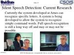 silent speech detection current research