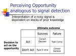 perceiving opportunity analogous to signal detection
