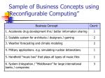 sample of business concepts using reconfigurable computing
