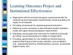 learning outcomes project and institutional effectiveness
