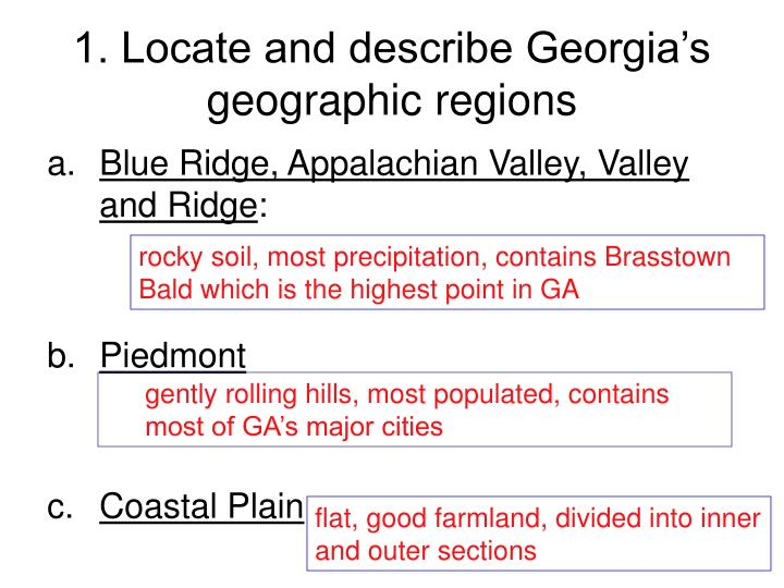 1 locate and describe georgia s geographic regions n.
