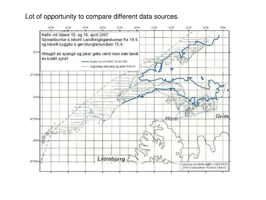 Lot of opportunity to compare different data sources.