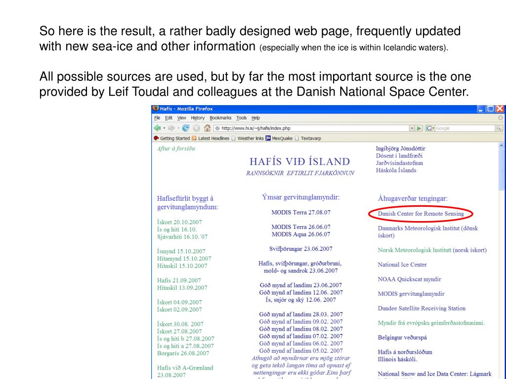 So here is the result, a rather badly designed web page, frequently updated
