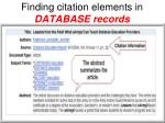 finding citation elements in database records