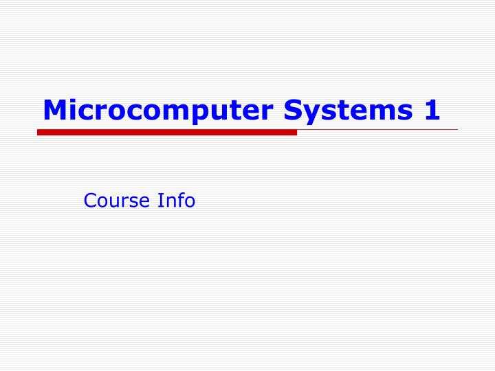 microcomputer systems 1 n.