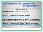 des exemples de composition en g ographie