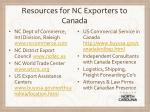 resources for nc exporters to canada