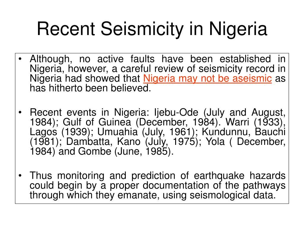 Recent Seismicity in Nigeria