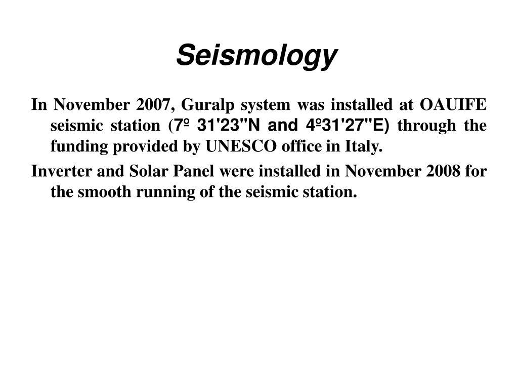 Seismology