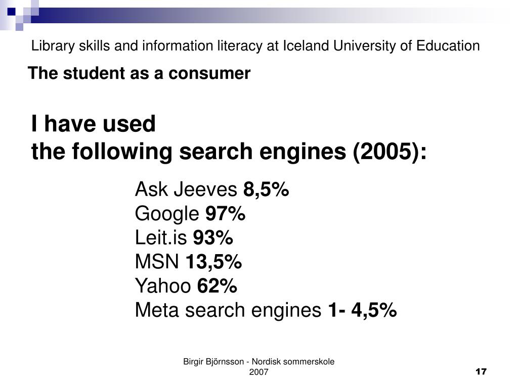 Library skills and information literacy at Iceland University of Education