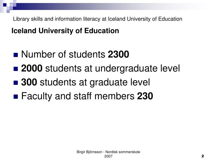 Library skills and information literacy at iceland university of education2