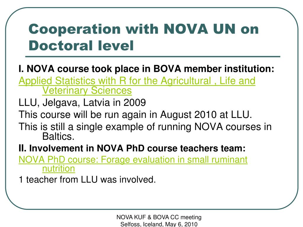Cooperation with NOVA UN on Doctoral level