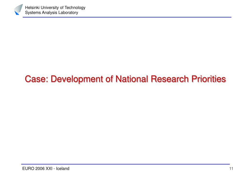 Case: Development of National Research Priorities