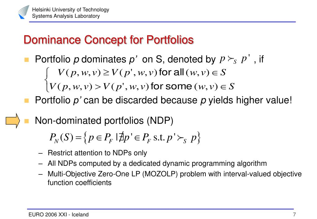 Dominance Concept for Portfolios