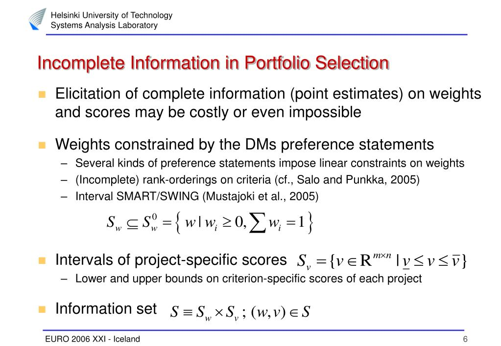 Incomplete Information in Portfolio Selection