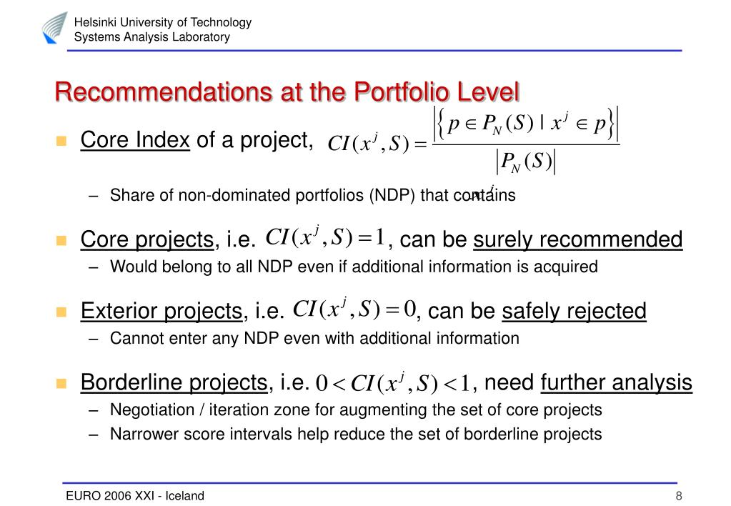 Recommendations at the Portfolio Level