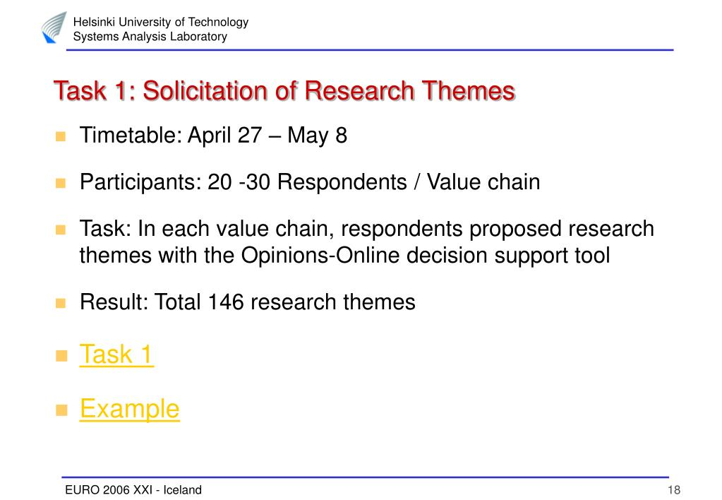 Task 1: Solicitation of Research Themes