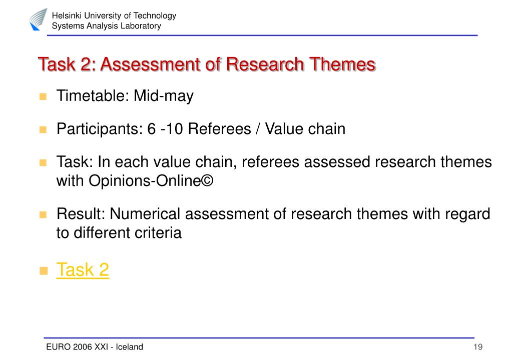 Task 2: Assessment of Research Themes