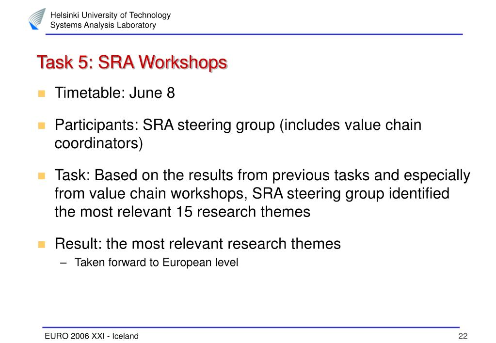Task 5: SRA Workshops