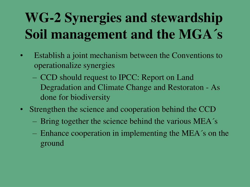 WG-2 Synergies and stewardship