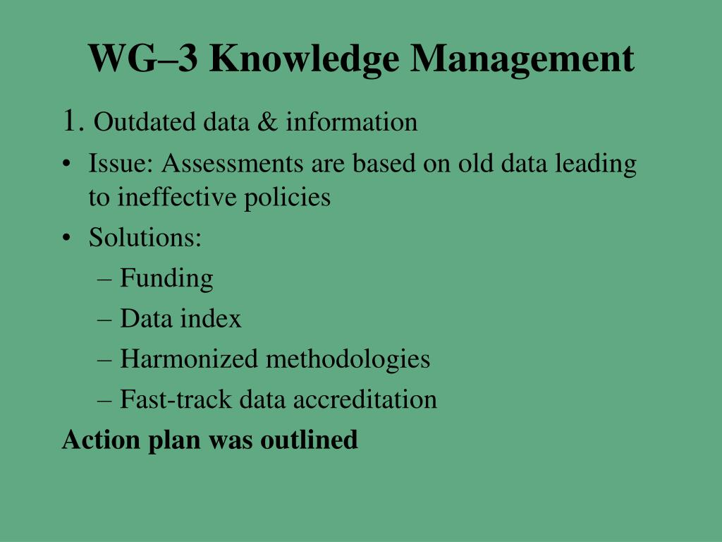 WG–3 Knowledge Management