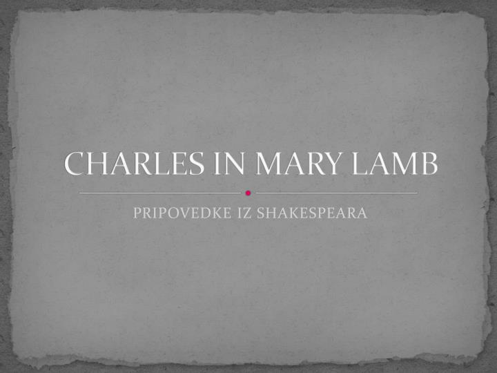 charles in mary lamb n.