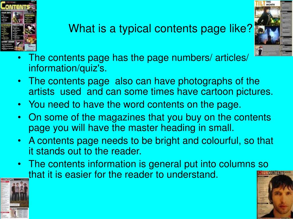 What is a typical contents page like?