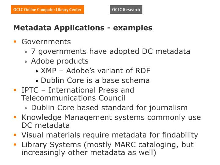 Metadata Applications - examples