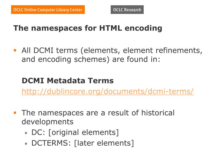 The namespaces for HTML encoding