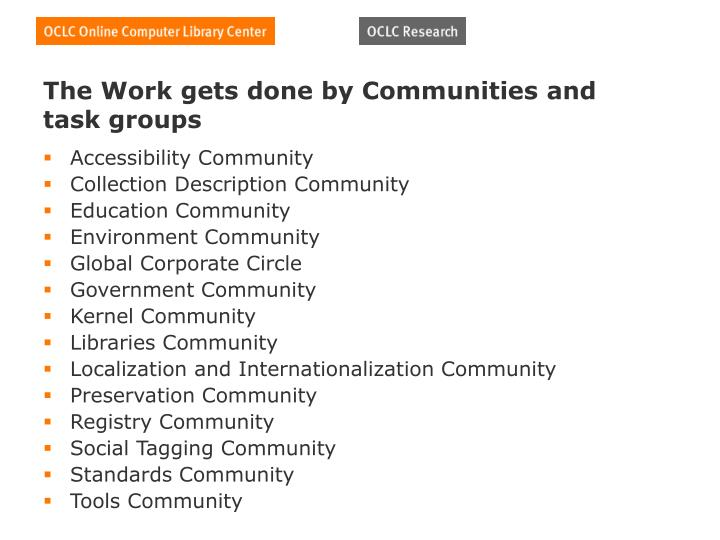 The Work gets done by Communities and