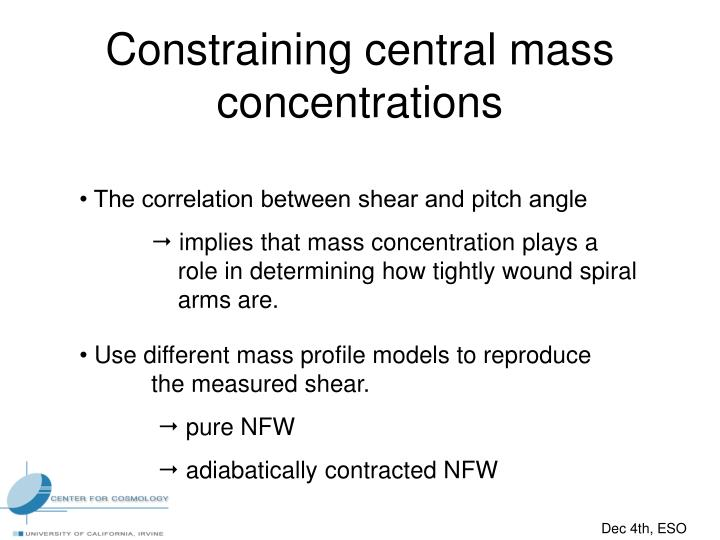 Constraining central mass concentrations