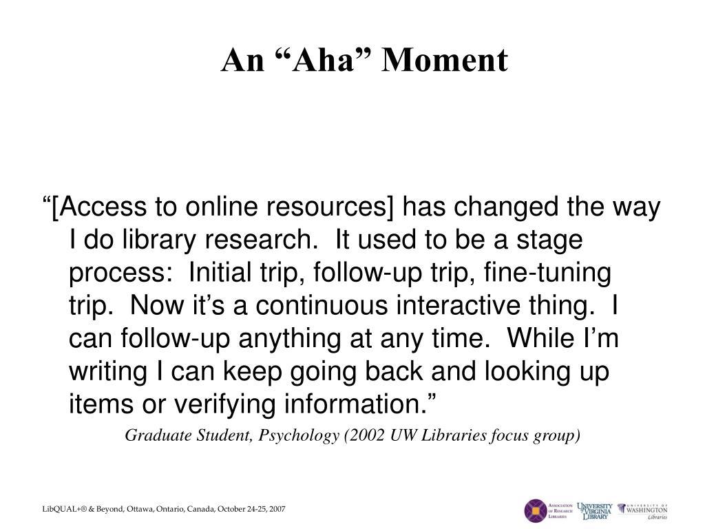 "An ""Aha"" Moment"