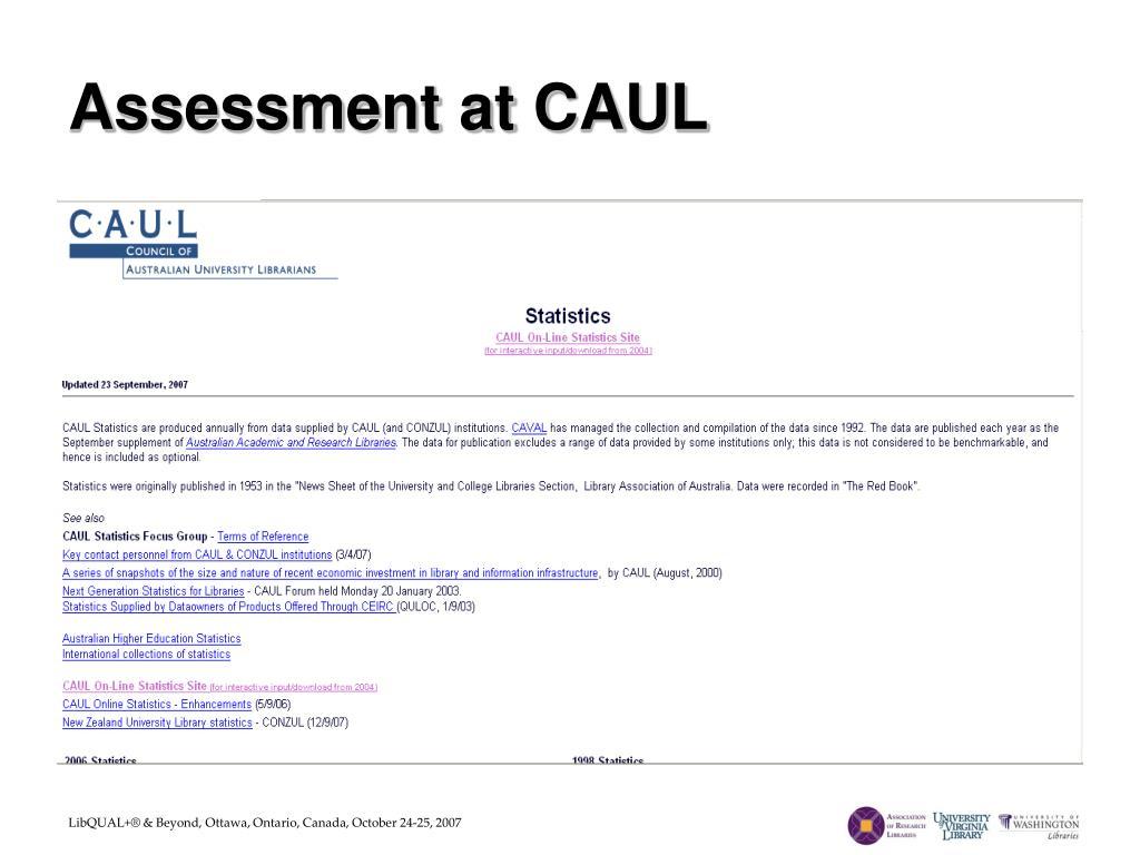 Assessment at CAUL