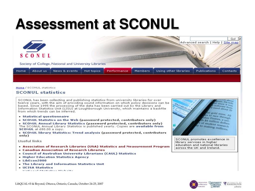 Assessment at SCONUL