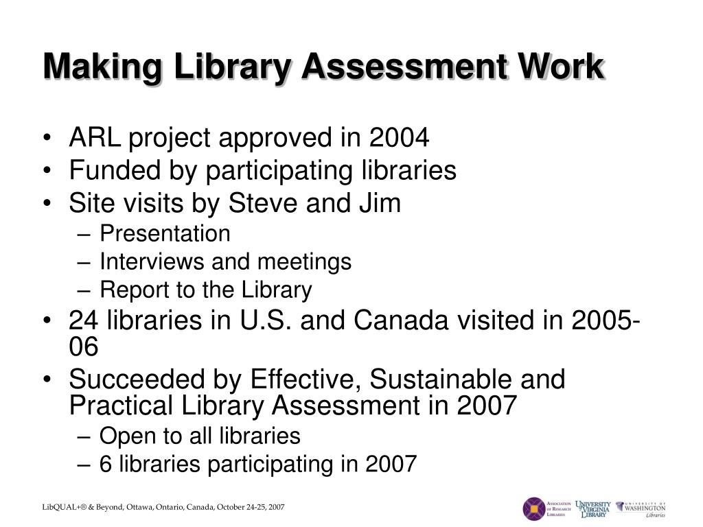 Making Library Assessment Work